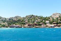 Turquía, Kalekoy - 20 06 2015 Pueblo de Kalekoy o de Simena en la isla turca de Kekova Imágenes de archivo libres de regalías