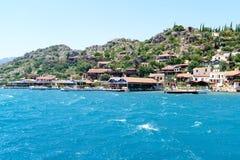 Turquía, Kalekoy - 20 06 2015 Pueblo de Kalekoy o de Simena en la isla turca de Kekova Fotos de archivo libres de regalías