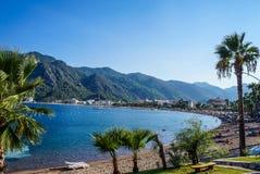 Turquía Verano 2015 Playa de la ciudad de Marmaris imágenes de archivo libres de regalías