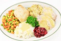 Turquía y vestido de la comida de la acción de gracias Foto de archivo libre de regalías