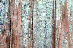 Turquesa azul natural de madeira velha vertical resistida fotos de stock