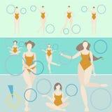 Turquesa de la mujer del aro de la gimnasia rítmica ilustración del vector