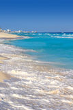 Turquesa de la orilla de la playa del mar del Caribe de Cancun Imágenes de archivo libres de regalías