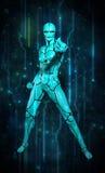 Turquesa del circuito del holograma del robot Fotos de archivo