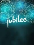 Turquesa del partido de la celebración del fuego artificial del aniversario del jubileo Imagen de archivo libre de regalías