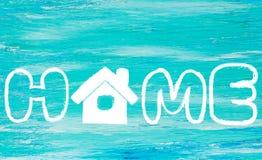 A turquesa do logotipo da casa da palavra Fotos de Stock