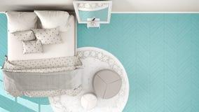 Turquesa moderna cómoda y dormitorio beige con el piso de entarimado de madera, la alfombra con el taburete y la cama con la mant ilustración del vector