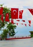 Turquia, Antalya, maio 10,2018 Slogan 2024 do Euro de Turquia Birlikte Paylasalim, tradução do turco como a parte junto foto de stock royalty free