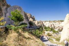 Turquia, Cappadocia Museu complexo Goreme do ar livre do monastério da caverna da vista Fotografia de Stock