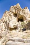 Turquia, Cappadocia O complexo do monastério no museu do ar livre de Goreme Convento Kyzlar da caverna das ruínas, XI século Imagens de Stock Royalty Free