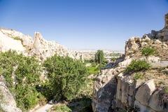 Turquia, Cappadocia Ruínas do monastério antigo da caverna no museu do ar livre das rochas de Goreme Foto de Stock