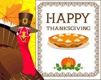 Turquia com o chapéu no fundo de um quadro indicador e das folhas de outono Fotos de Stock Royalty Free