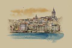 Turquia Istambul, gráficos no papel velho imagens de stock