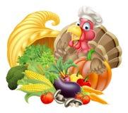 Turquia no cozinheiro chefe Hat e na cornucópia Foto de Stock Royalty Free