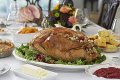 Turquia Roasted no grupo da tabela Imagem de Stock