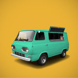 Turquiose fast food truck on yellow background template Stock Photos