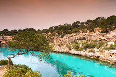 Turquiose waters of Cala Pi Royalty Free Stock Images