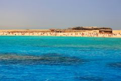 Turquise water of the exotic beach. Lagoon of the Red Sea at Mahmya island, Egypt Royalty Free Stock Photo