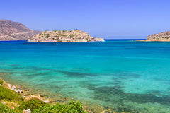 Turquise water of Mirabello bay on Crete. Greece Royalty Free Stock Photo