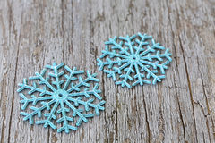Turquois christmas star. On wood royalty free stock images