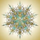 Turquois en gouden mandala stock illustratie