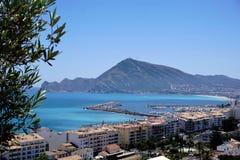 Turquois mediterranean sea and port in Altea. Spain stock photo