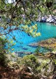 Turquois waters in  Rhodes Greece Royalty Free Stock Photo