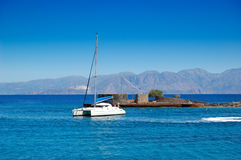 Turquoise Aegean Sea and luxury yacht Royalty Free Stock Image