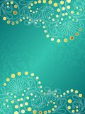Turquoise background with delicate swirls, vertica Royalty Free Stock Images