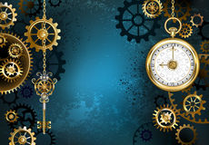 Turquoise Background with Gears royalty free illustration