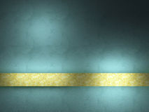 Turquoise background with gold ribbon. Royalty Free Stock Photos