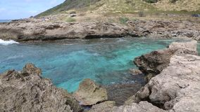 Turquoise bay in Kaena Point stock video footage