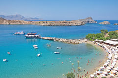 Turquoise bay of Lindos at Rhodes Island Stock Photo
