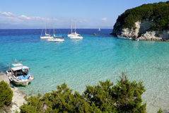Turquoise bay with sailboats Stock Image