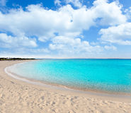 Turquoise beach in formentera stock image