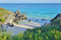 Turquoise beach near Southampton, Bermuda. SOUTHAMPTON, BERMUDA -Elbow, Coral, Astwood Cove, Warwick Long Bay and Horseshoe Bay are beaches with turquoise water stock photography