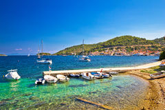 Turquoise beach and small harbor on Vis Royalty Free Stock Images