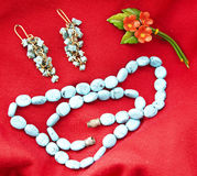 Turquoise beads and earings Stock Images