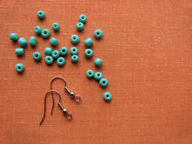 Turquoise beads and pieces for making earrings, handmade jewelry Royalty Free Stock Photo