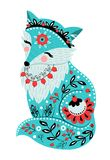 Turquoise beautiful fox and flowers in a folk style. Colorful ve. Vector illustration with turquoise fox and flowers in a folk needlework style. Template for Stock Image