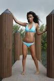 Turquoise bikini on a dock Stock Image