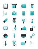 Turquoise-black business icons set. Set of 24 turquoise-black business icons Royalty Free Stock Images