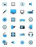 Turquoise-black multimedia icons set. Set oif 24 turquoise-black multimedia icons Stock Photos