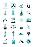 Turquoise-black science icons set. Set of 24 turquoise-black science icons Stock Photo