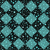 Turquoise and black vector seamless chess styled vintage texture with clove flowers and shining rounds Stock Image