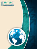Turquoise blue brochure with arrows and world map Stock Photo