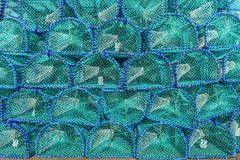 Turquoise and blue cages background - Fish trab on Isle of Mull, Scottish Highlands, Scotland. Multiple Cages, mesh background Royalty Free Stock Images