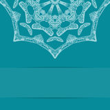 Turquoise blue card with ornate pattern and copy Royalty Free Stock Photos