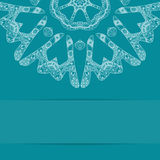 Turquoise blue card with ornate pattern and copy Stock Image