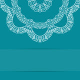 Turquoise blue card with ornate pattern Royalty Free Stock Image